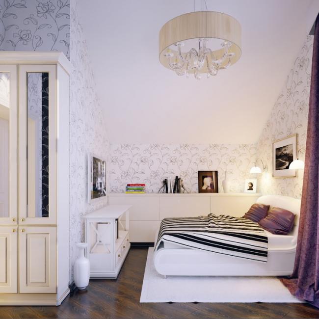 ideen fürs jugendzimmer mädchen dachschräge florale tapeten muster, Schlafzimmer ideen