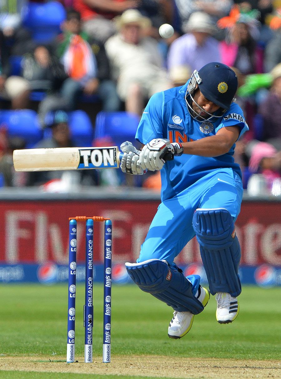 Rohit Sharma ducks a bouncer, India v South Africa, Champions Trophy, Group B, Cardiff, June 6, 2013