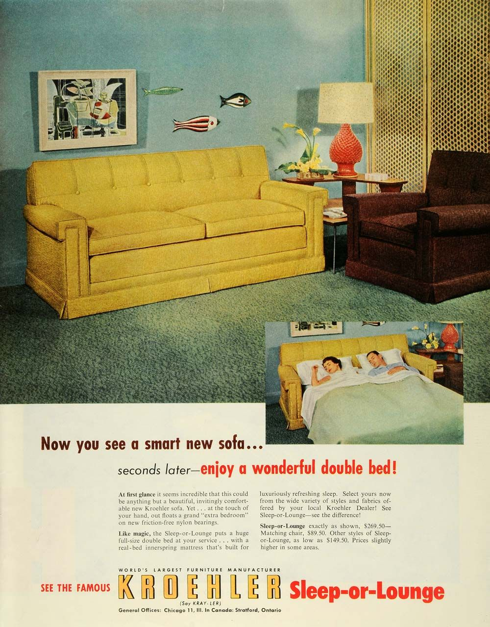kroehler antique furniture | ... Ad Kroehler Chicago Sleep-or-Lounge  Sofa-Bed Futon Furniture Antique - 1953 Ad Kroehler Chicago Sleep-or-Lounge Sofa-Bed Futon Furniture