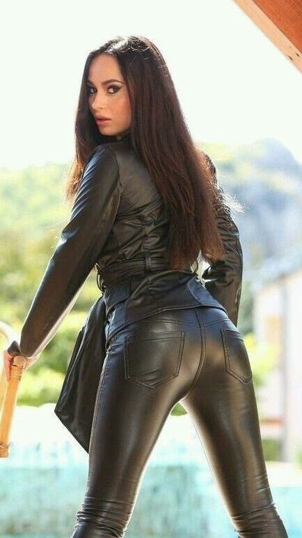 Pin on girls in leather