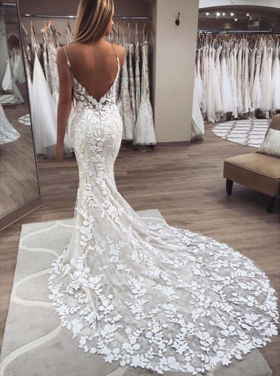 Lace Mermaid Wedding Dress With Spaghetti Straps Destination Wedding Dress 12137 Boho Bridal Gowns Wedding Dresses Backless Wedding [ 1280 x 953 Pixel ]