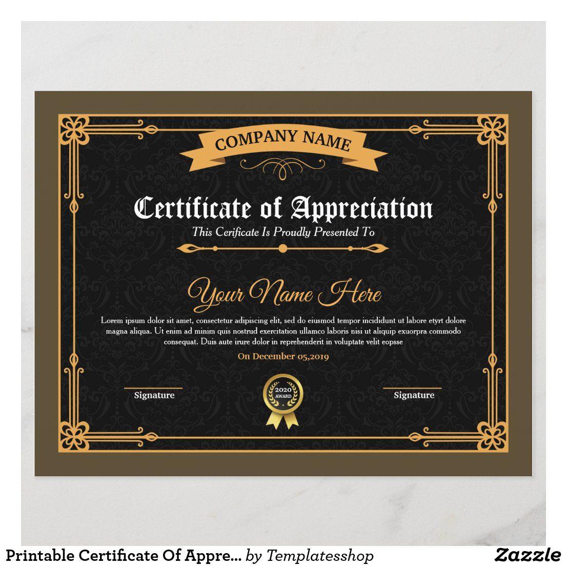 Printable Certificate Of Appreciation Zazzle Com In 2021 Certificate Of Appreciation Printable Certificates Appreciation Printable Father of the year certificates