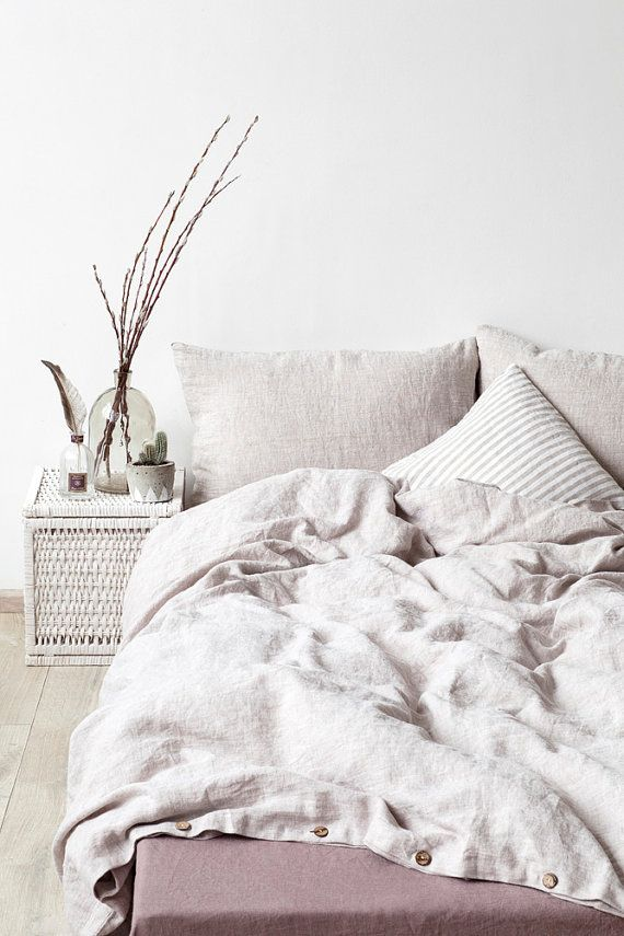 Mezcla Piedra Lavado Funda Nórdica De Lino Por Linentalesinbed Washed Linen Duvet Cover Bed