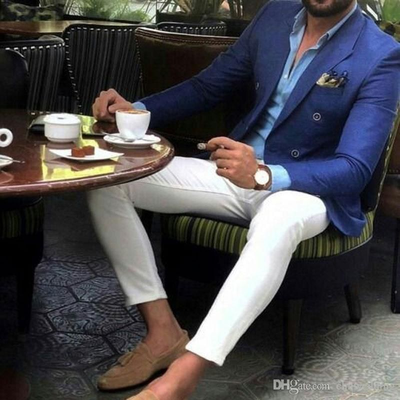Latest Peak Design Men Suits for Wedding Groom Blue Tuxedos Man Blazer Prom Party Terno Masculino Slim Fit Costume Homme 2Piece Coat Pants #men'ssuits