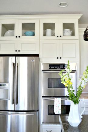 How To Add Glass Inserts Into Your Kitchen Cabinets Pinterest