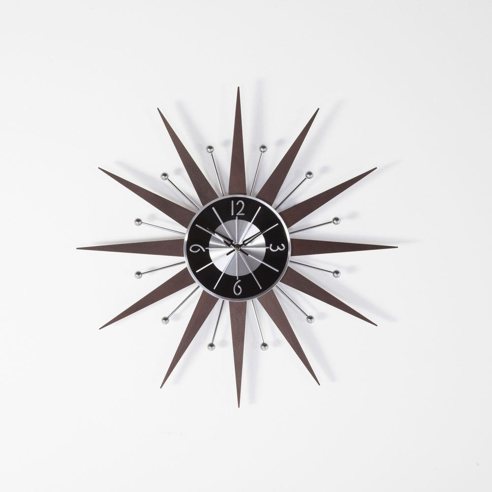 George Nelson Wooden Starburst Clock In Wood Controlbrand Modern