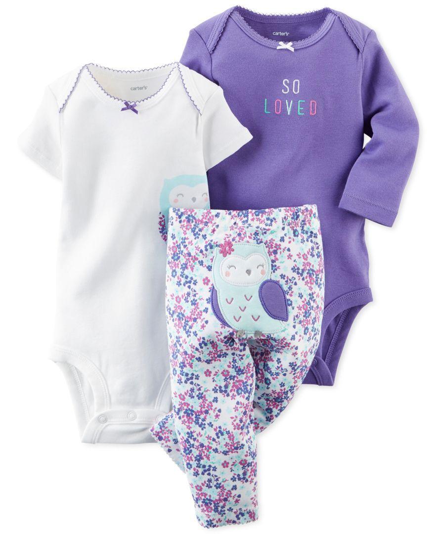 99299184d Carter s Baby Girls  3-Piece Owl Bodysuits   Pants Set