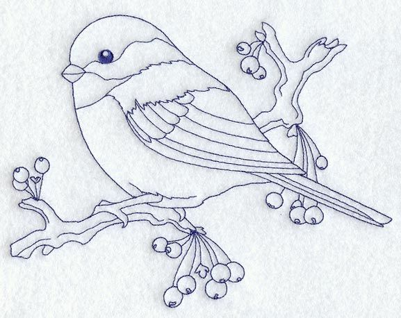 Chickadee Bluework Broderie Pinterest Embroidery Bird And