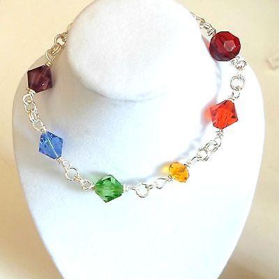 Handmade-bracelet-Rainbow-Pride-crystals-chain-maille-size-7-1-4-red-orange-etc