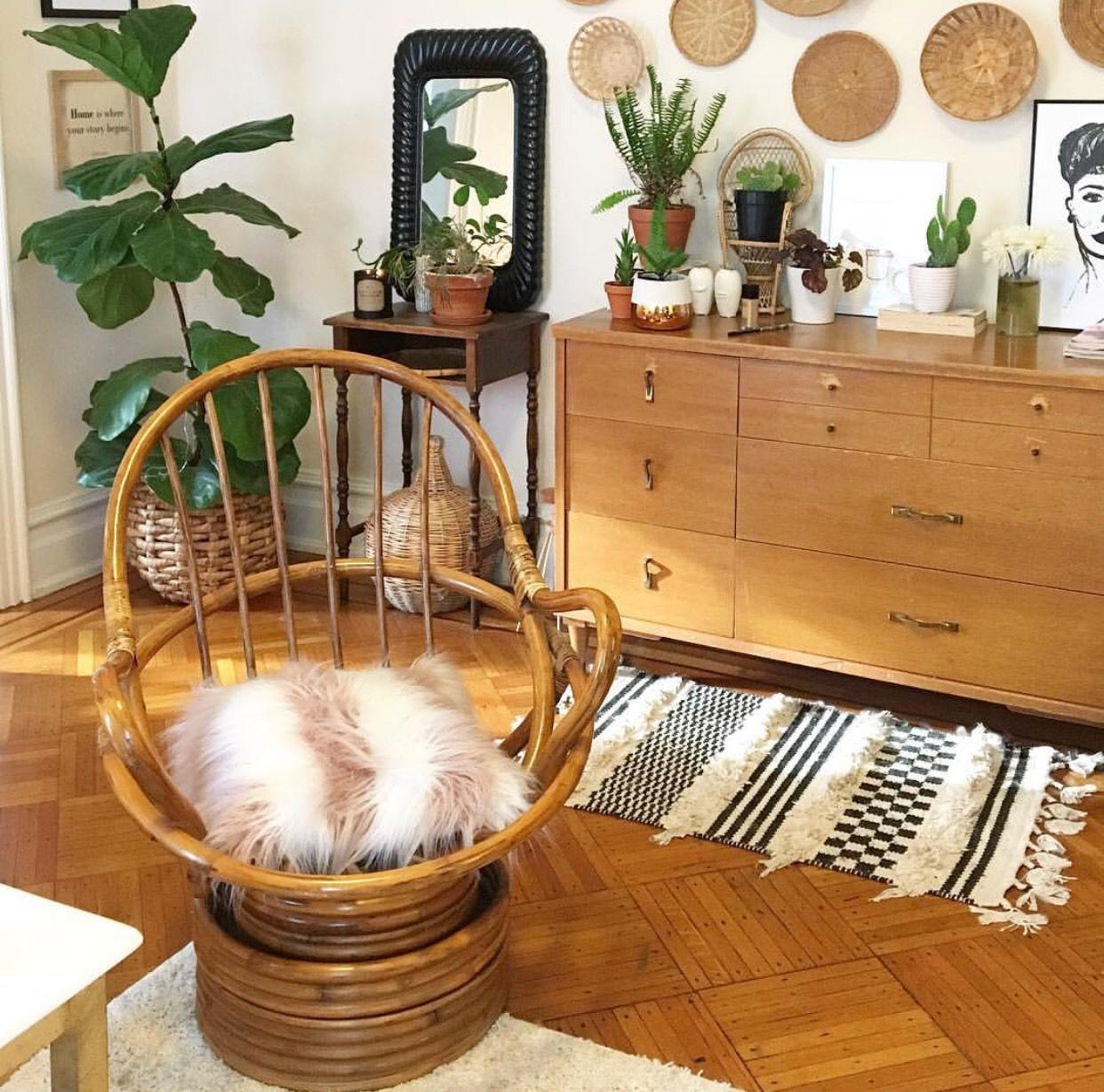 Best Bohemian Decor Living Room Boho Chair Wicker Basket Wall Decor Plants Black And White Boho 400 x 300