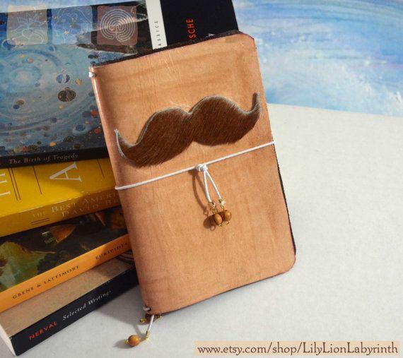 Leather Moustache Journal Midori style by LilyLionLabyrinth
