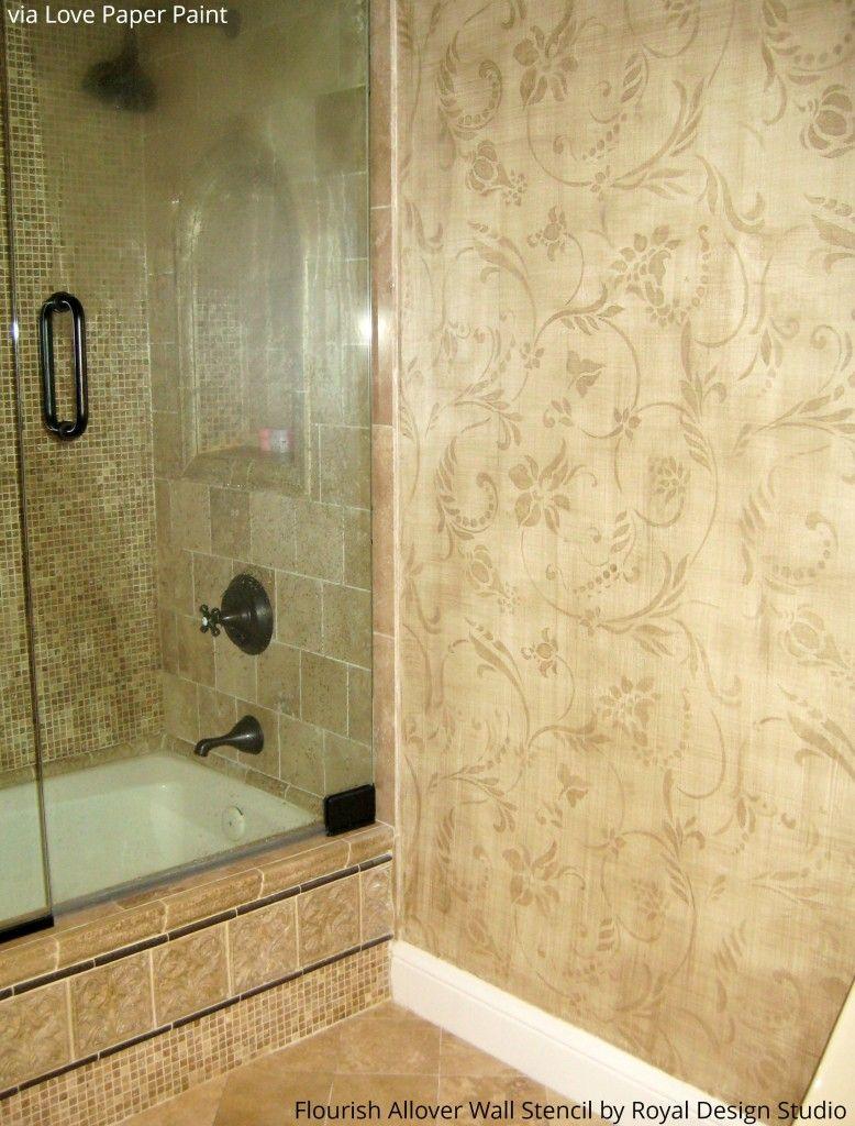 Flourish Allover Wall Stencil | Wall stenciling, Guest bath and ...