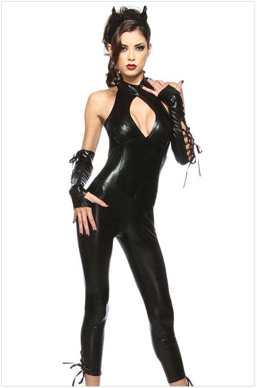 fashion sleeveless low cut slinky nightclub catwoman stage