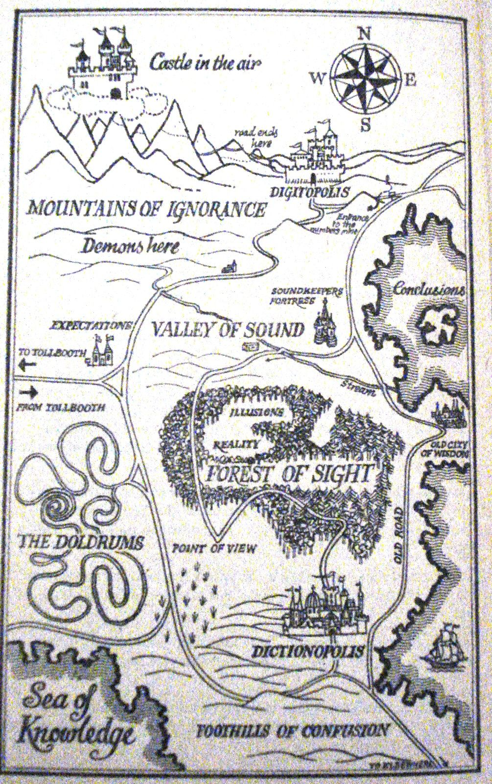 Phantom Tollbooth Map Partial map of The Phantom Tollbooth. By Norton Juster and