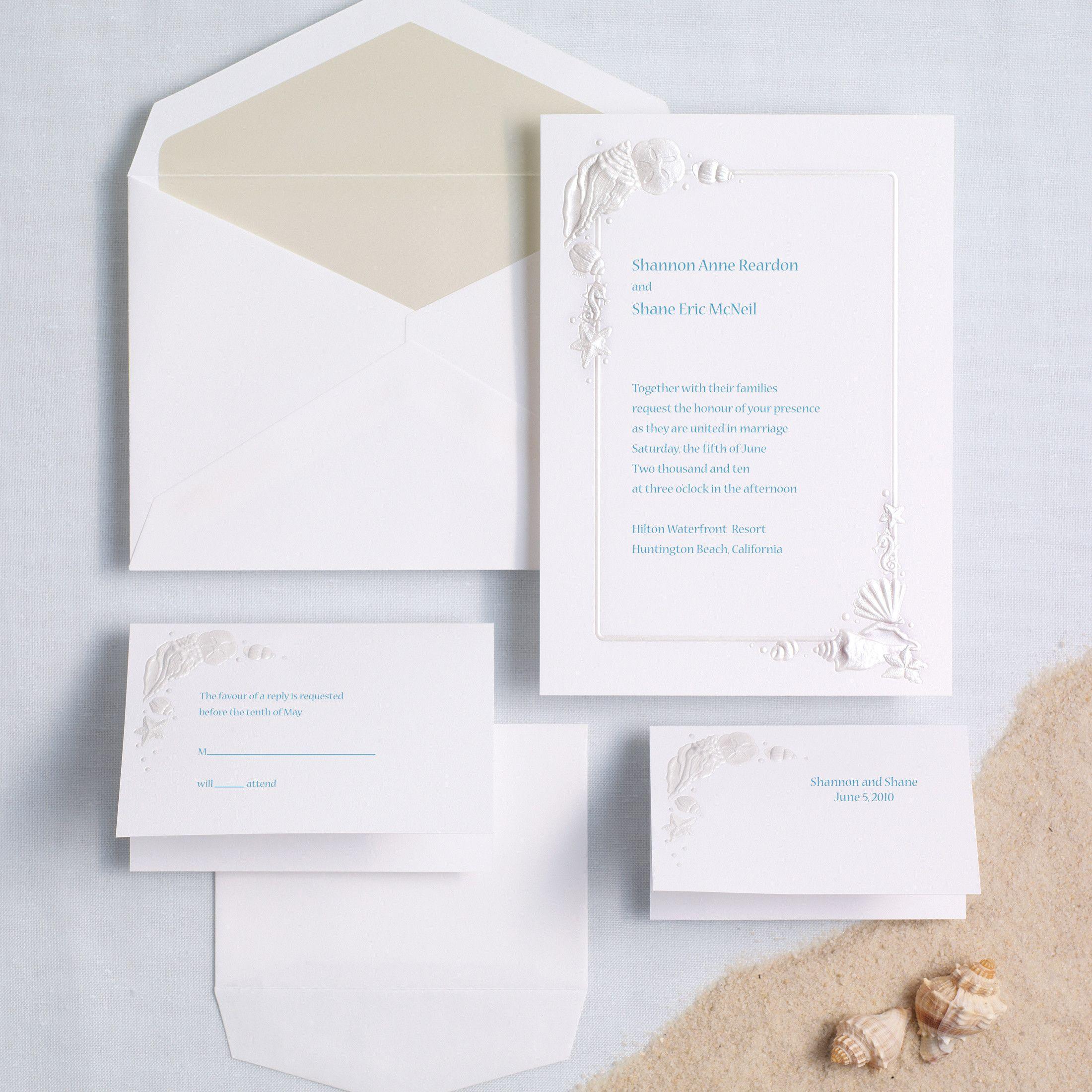 Sea Treasures Wedding Invitation   Invitation kits, Beach themed ...