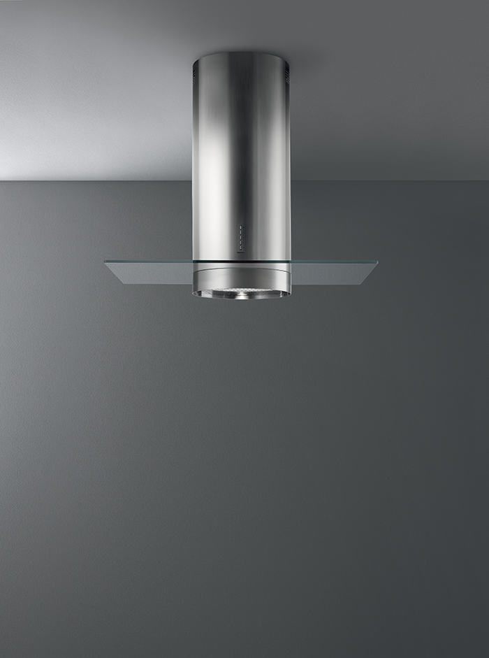 Design Polar: stainless steel and glass for a cookerhood that looks like a contemporary art installation. Bring the wind of beauty in your kitchen, with Falmec!