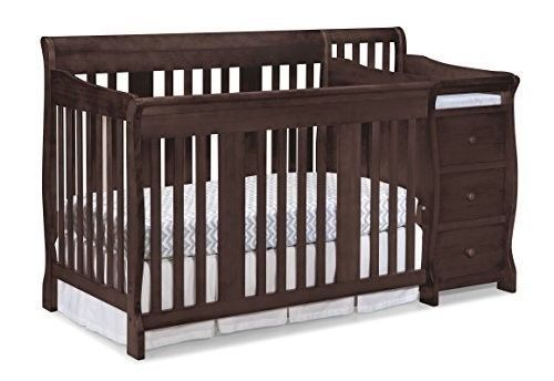 Convertible Baby Crib Changer Bed 4 In 1 Fixed Side Espresso Nursery  Furniture #