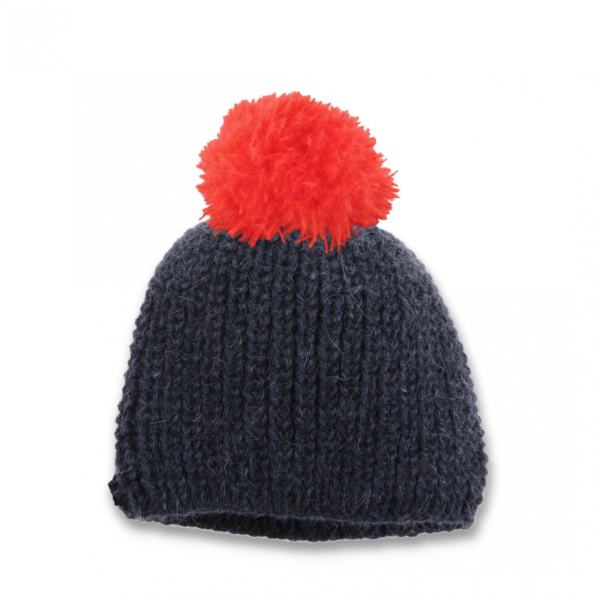 Les tricots de mamy - Bonnet enfant marine avec pompon rouge. Tricoté main  en grosses côtes perlées - Mamy Factory 4e4d3c7e4fb