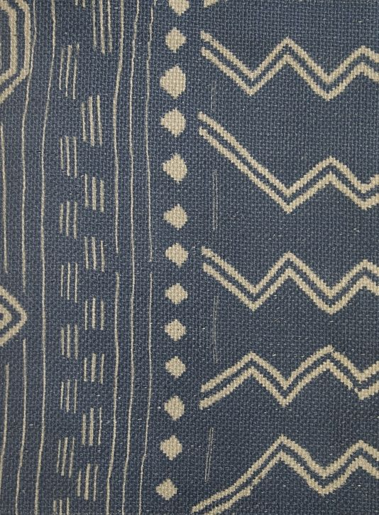 Geronimo Fabric Native American Inspired Design In Blue And Cream