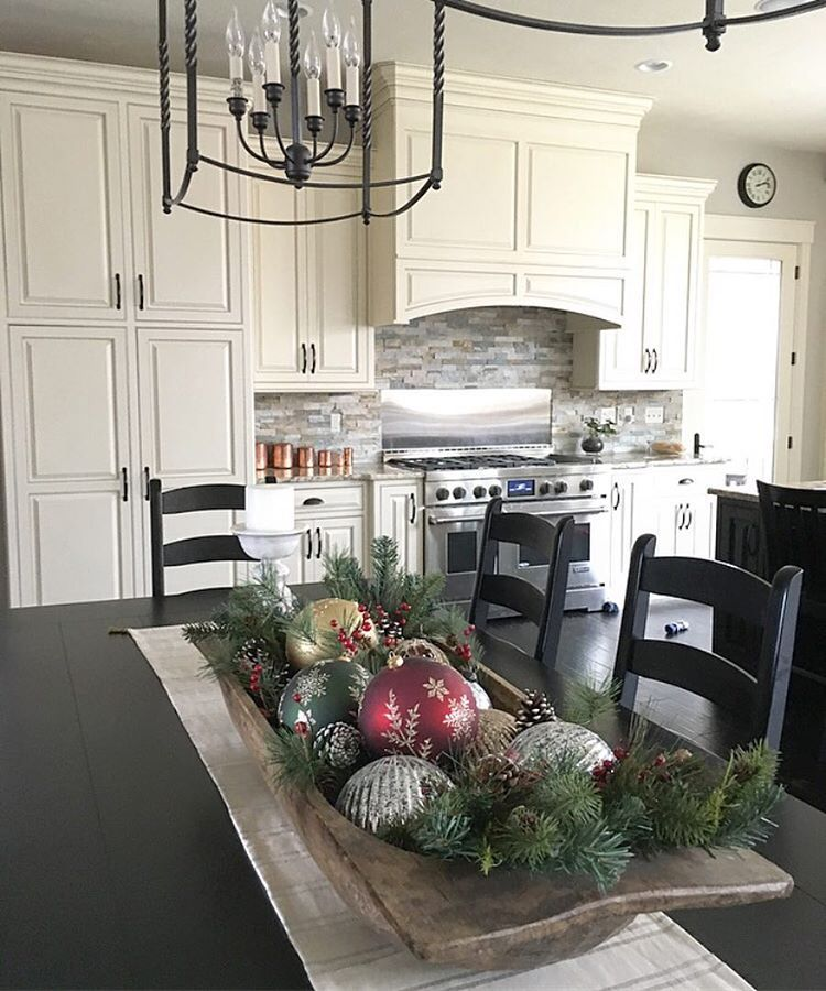 Antique Dough Bowl Centerpiece With Christmas Ornaments Kitchen Table