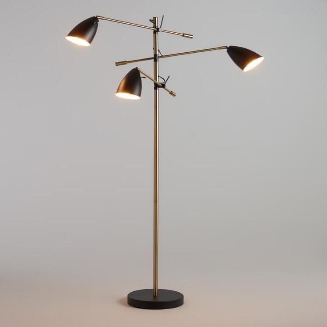 Matte Black And Brass 3 Shade Articulating Floor Lamp V1