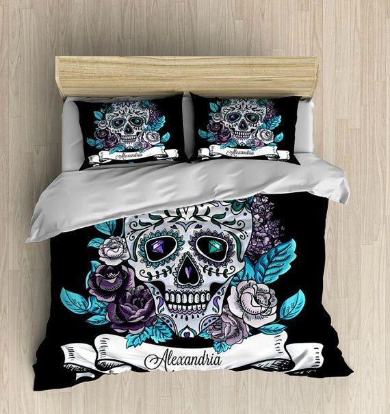 Skull bedding personalized sugar skulls bedding comforter for Cama gotica