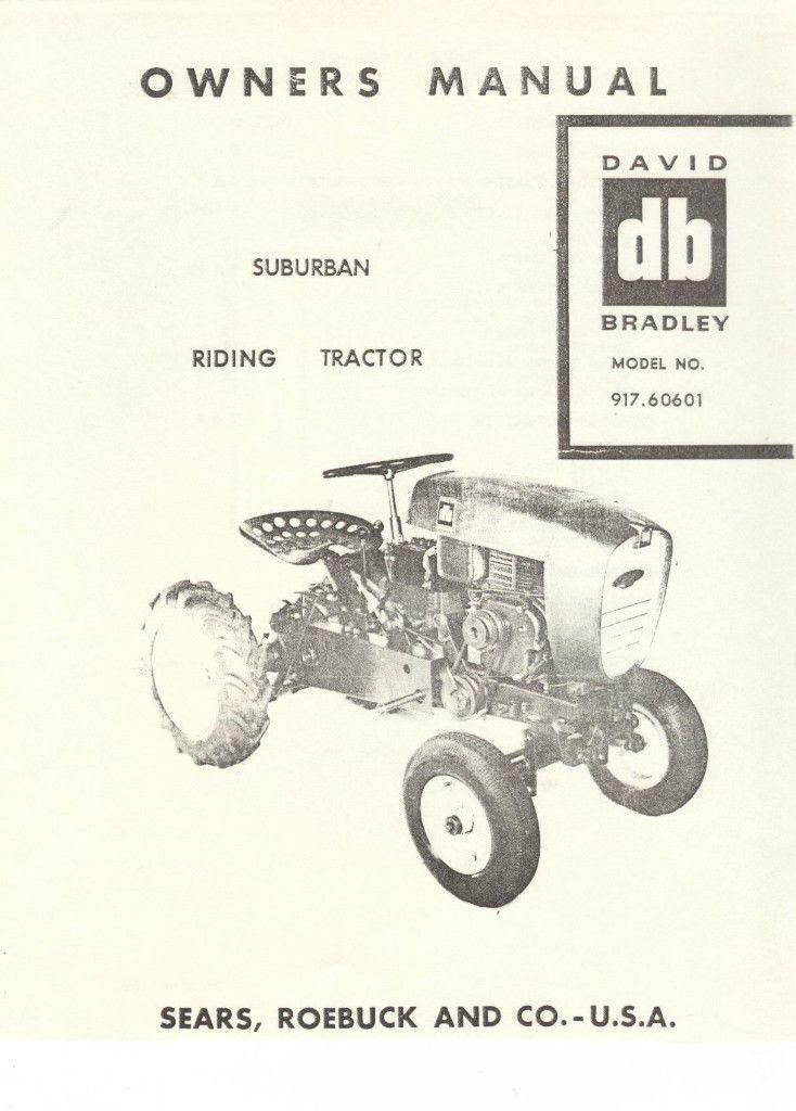 David Bradley Suburban Tractor Owners Manual 1959 Model 917 60601 Sears Picclick Com