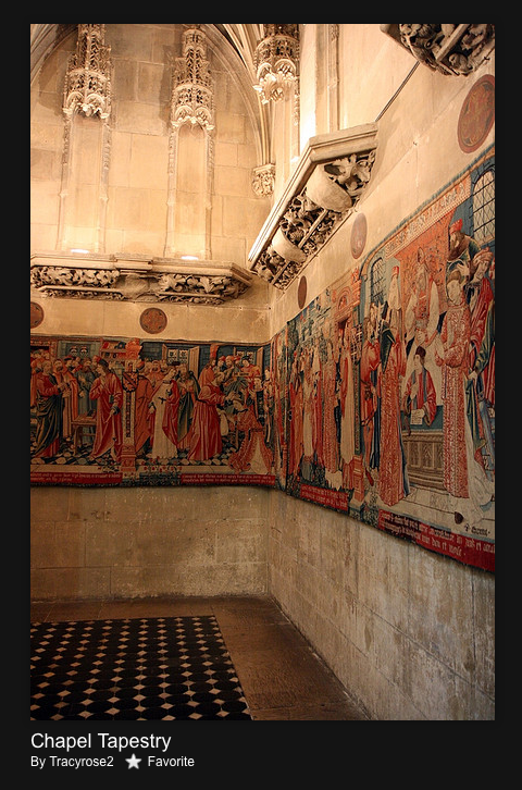 Early 16th-century tapestry of Saint Stephen in the 15th-century chapel of the Hôtel de Cluny.