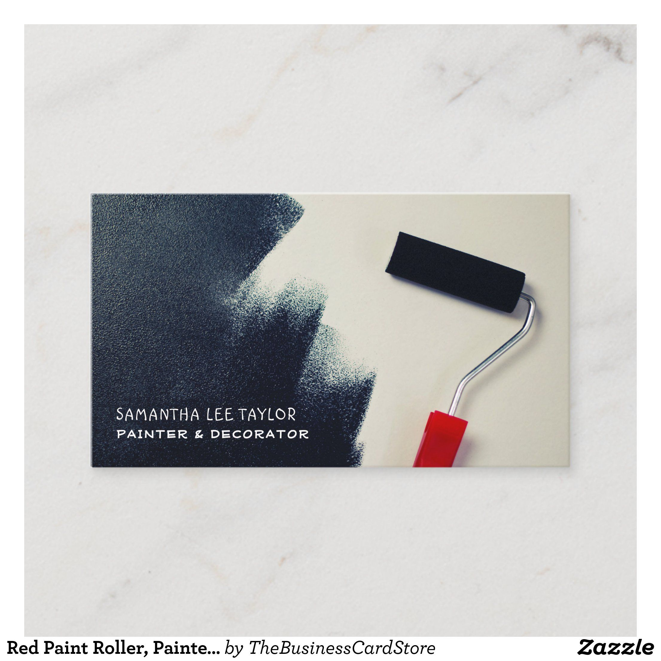 Red Paint Roller Painter Decorator Business Card Zazzle Com In 2021 Decorator Business Card Painter Business Card Painter And Decorator
