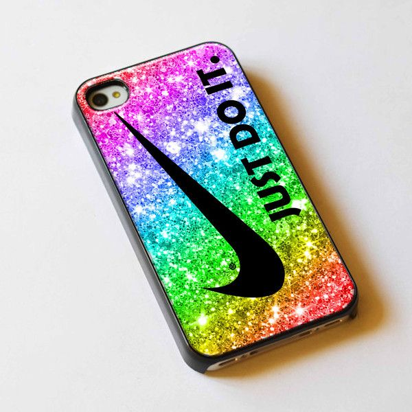 Just Do It Nike Rainbow Sparkle Glitter Printed For iPhone 5... - Polyvore 2ac8656f8eb48