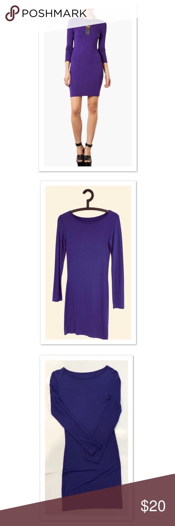 Topshop long sleeve purple bodycon tshirt dress in my posh