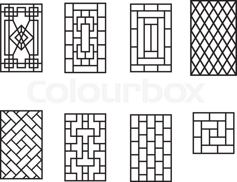 Set Of Chinese Pattern Window Frame Vector Vector