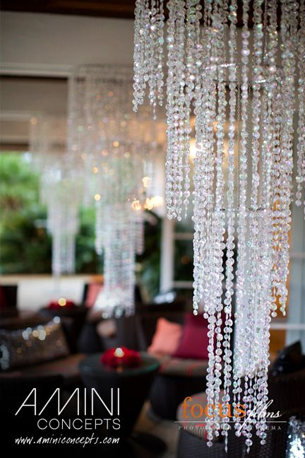 Crystal Alfresco With Elegant Hanging Crystal Chandeliers In