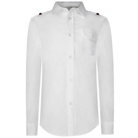 ebd22e1c9f10 GUCCI Boys White Cotton Epaulette Shirt