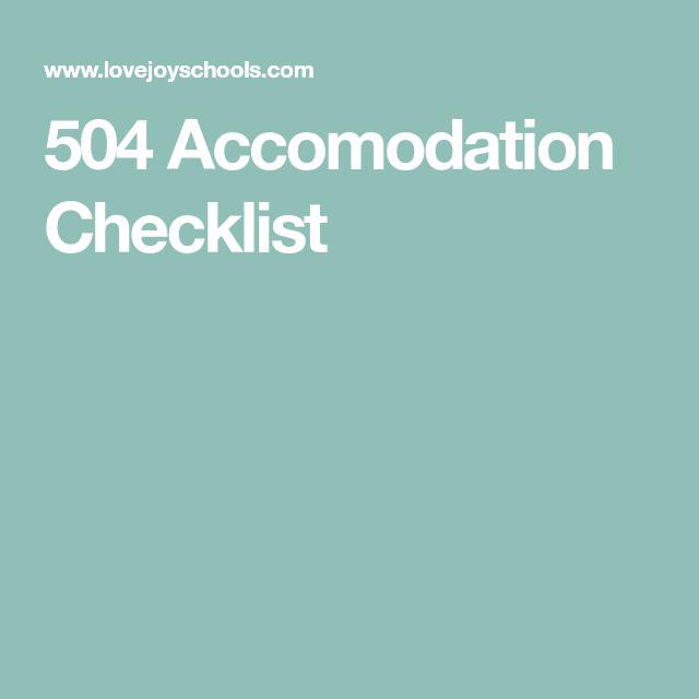 504 Accomodation Checklist   Checklist, School counseling ...