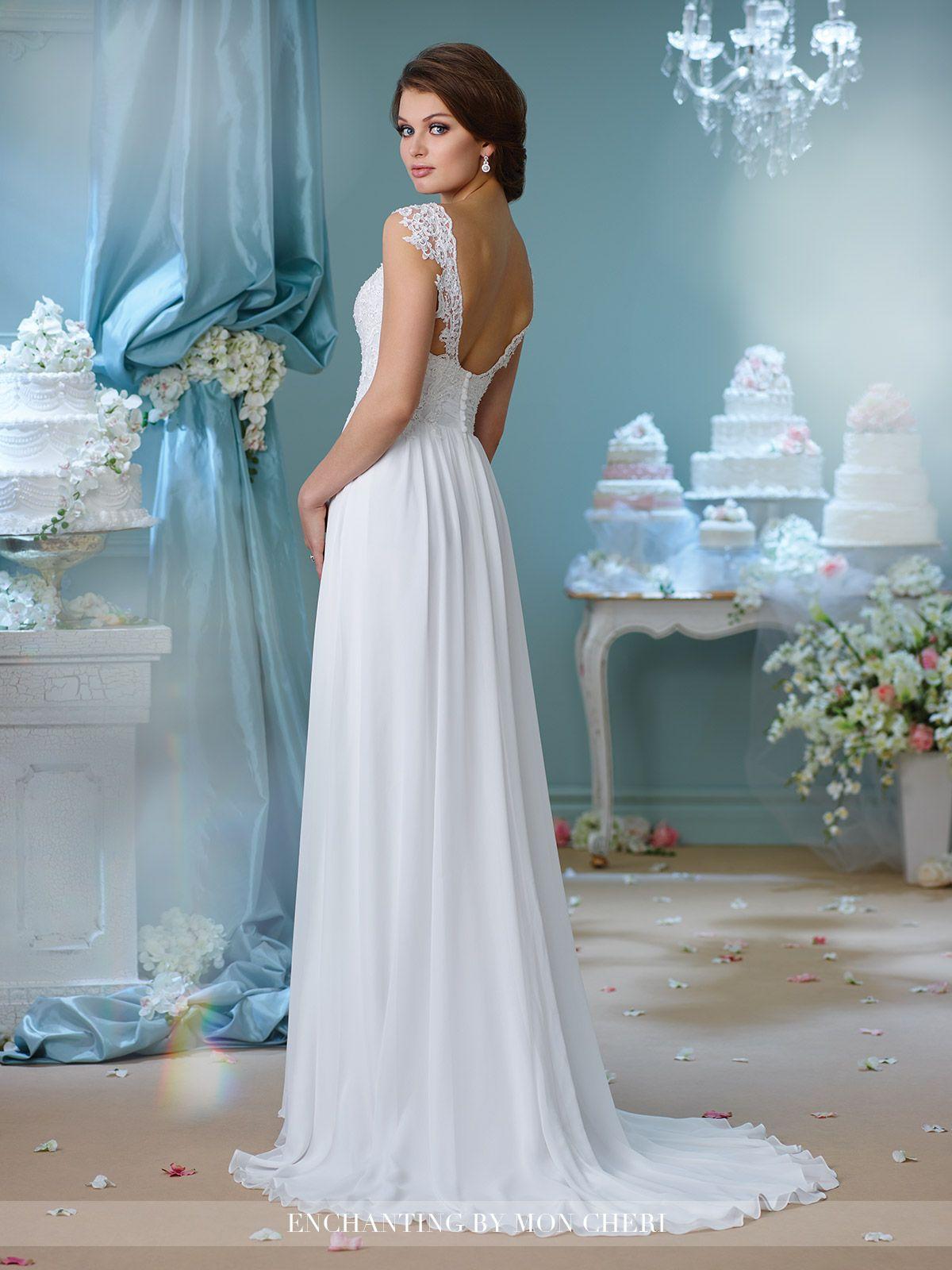 Illusion Cap Sleeve Wedding Dress- 216160- Enchanting by Mon Cheri ...
