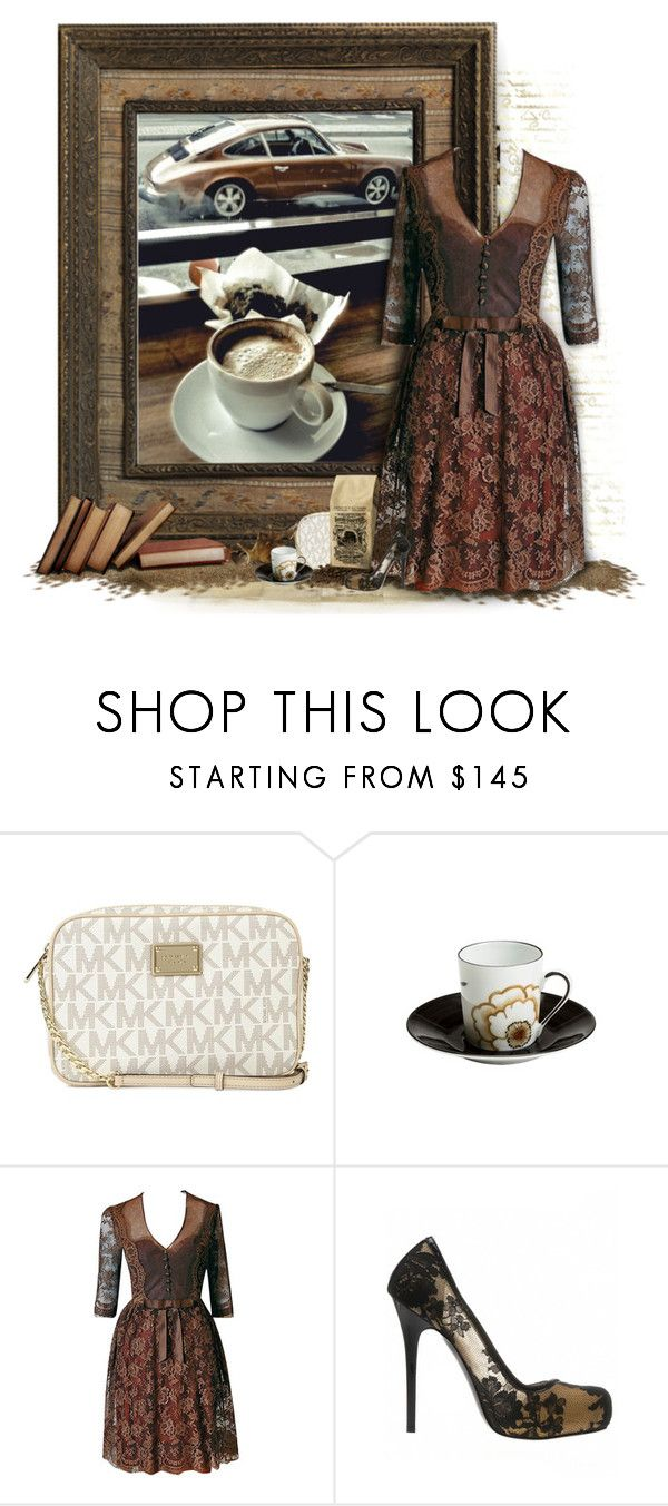 """""""Woodgrain Espresso"""" by afinedge ❤ liked on Polyvore featuring Michael Kors, Frette and Alexander McQueen"""