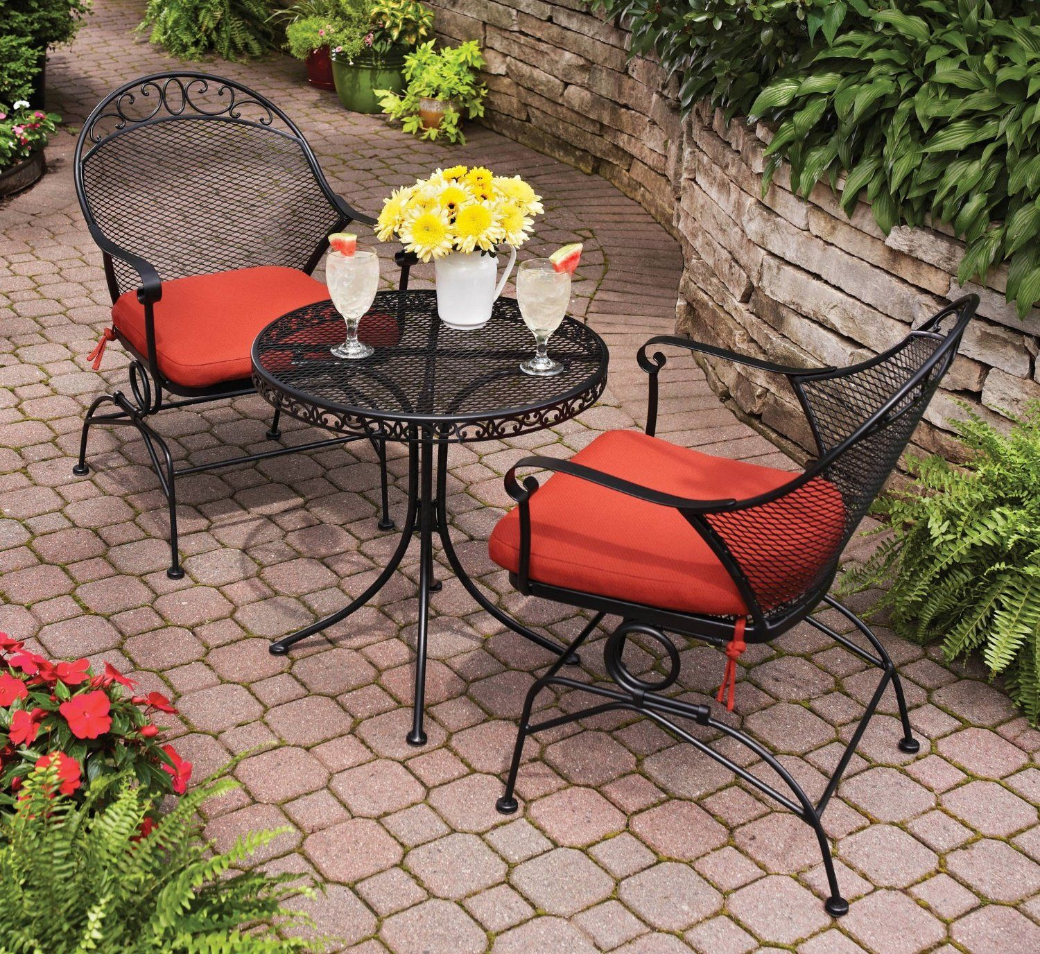 Outdoor Wrought Iron Bistro Set W Free Cushions And