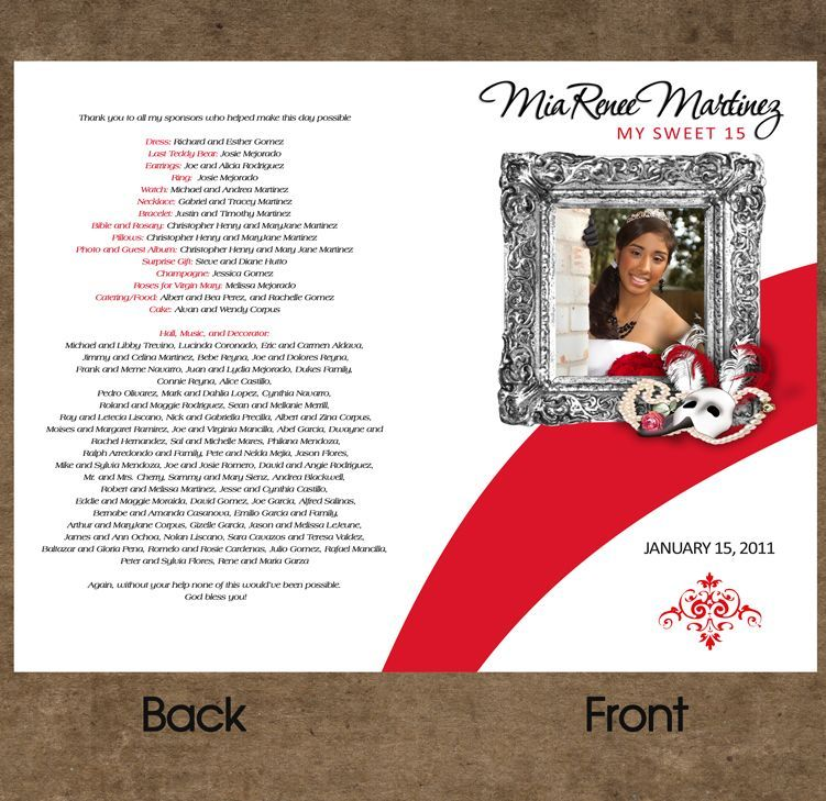 Program for quinceanera in phantom of the opera theme for Sweet sixteen program template