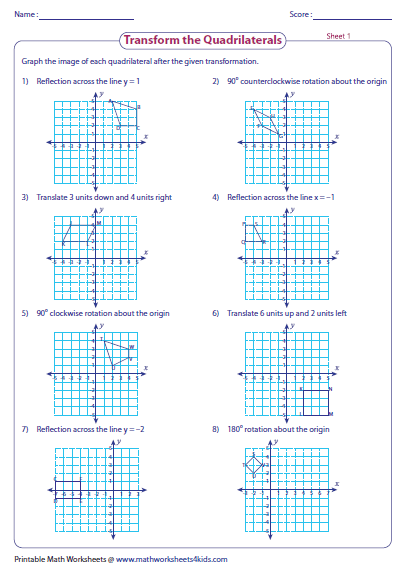 Graph The Image Of Quadrilateral After The Given Transformation Worksheets Quadrilaterals Worksheets Free