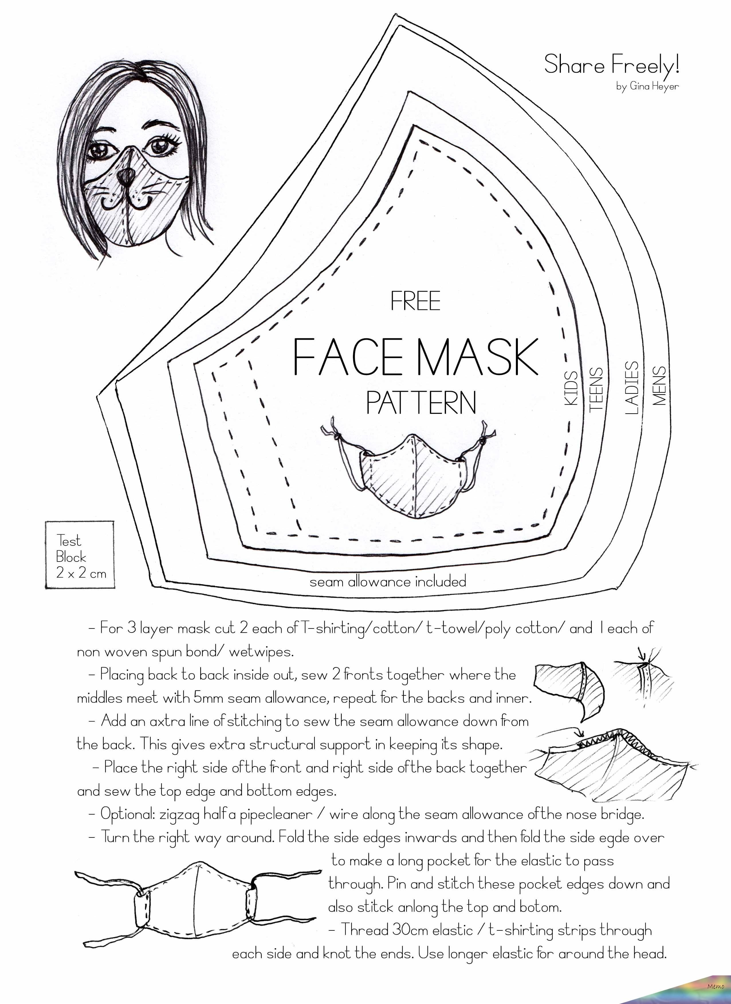 Photo of Free face mask pattern to protect yourself and others from corona covid19. Easy …