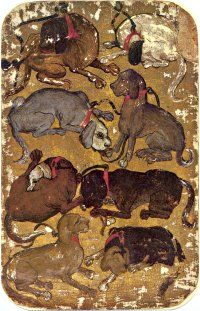 Stuttgart Playing Cards - 8 of Hounds, c.1430