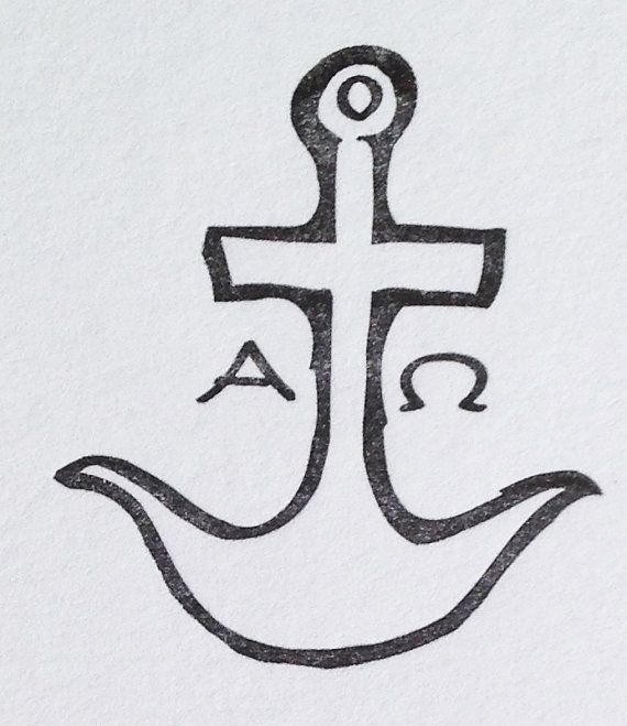Letterpress Anchor Alpha Omega Early Christian Symbol