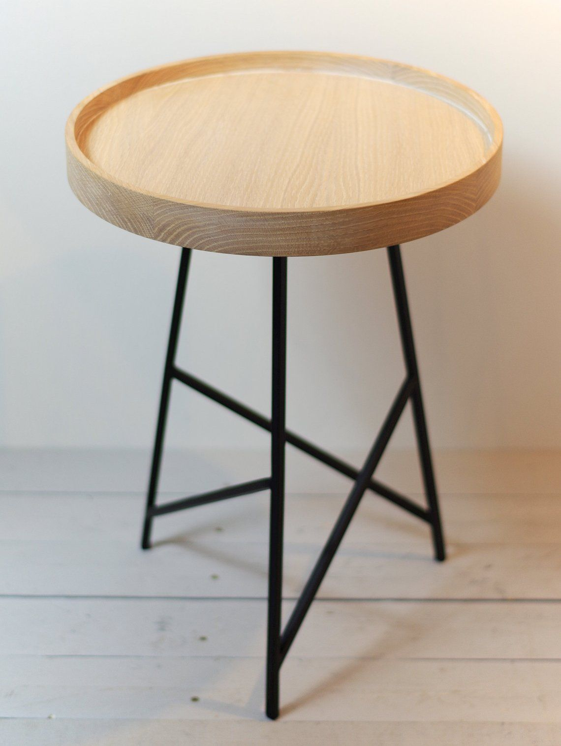 Small solid oak side table Side Table with Metal Legs end ...