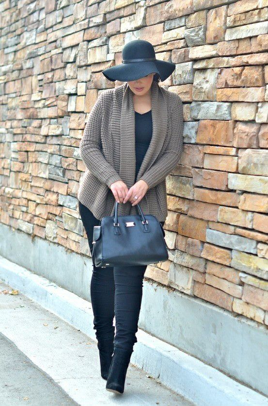 737b1a47c06 Another great look for the winter...who says it has to be so ho hum...add a  dramatic hat and a pointed tail sweater to create a nice silhouette.