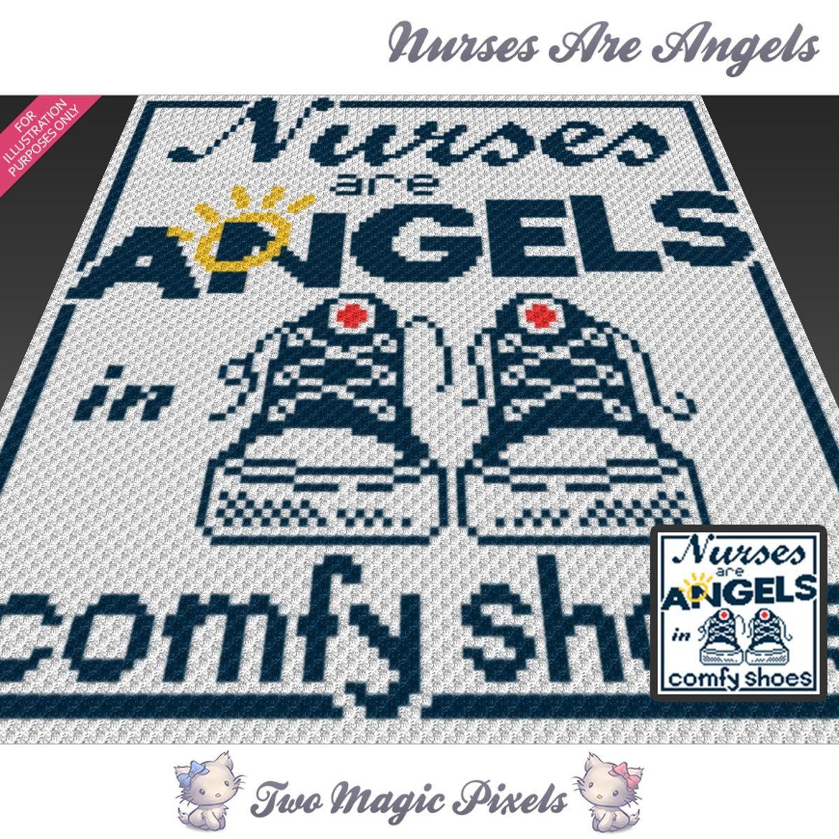 Nurses Are Angels C2C Crochet Graph