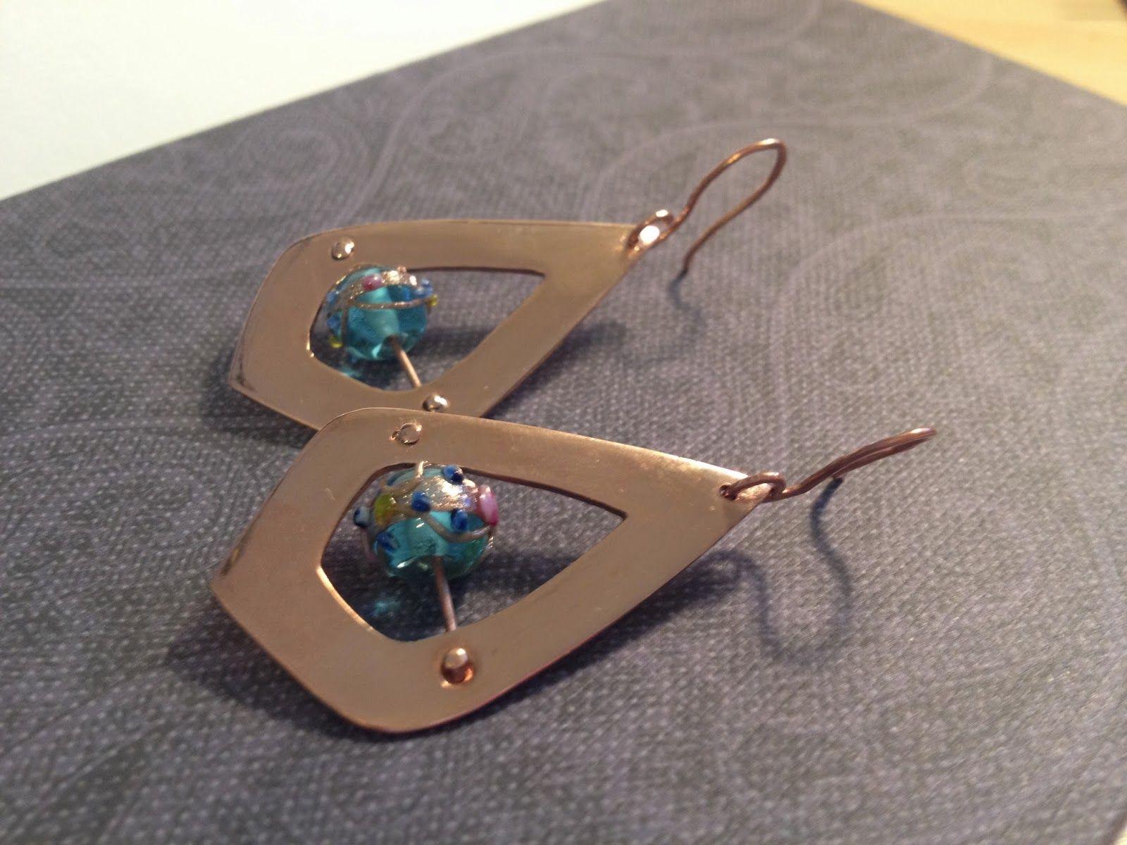 sawn metal earrings