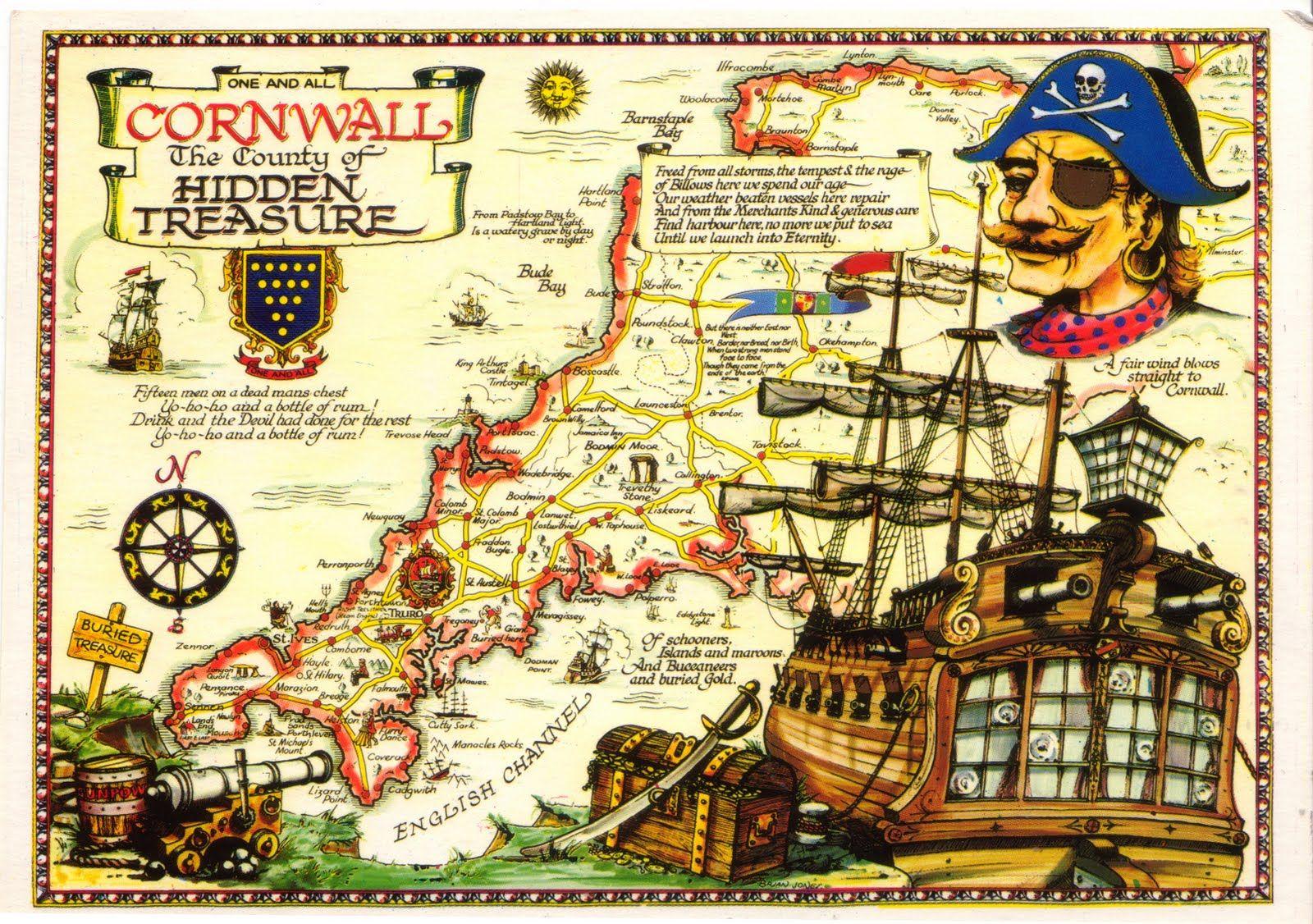 Pirate Map Of Cornwall England Cornwall Map Pirate Maps Cornwall