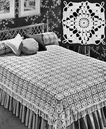California Modern Motif Bedspread Vintage Crochet Pattern for ...