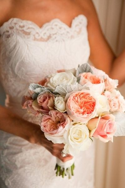 Spring Bouquets Wedding Flower Photos Dusty Miller And Peach